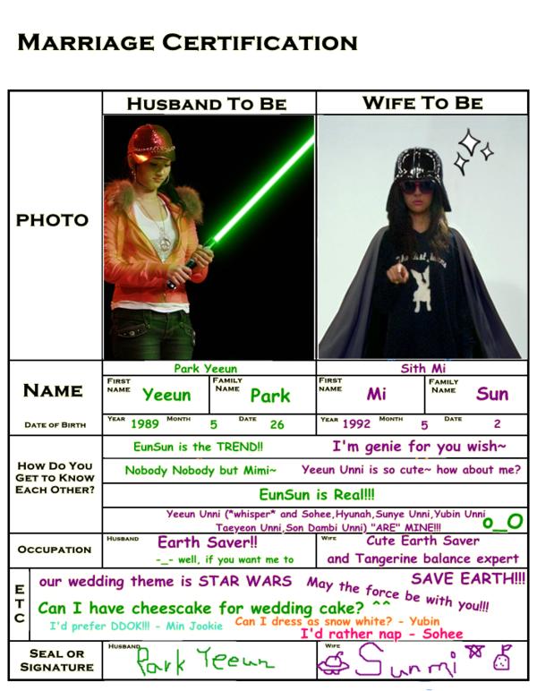 EunSun marriage cert